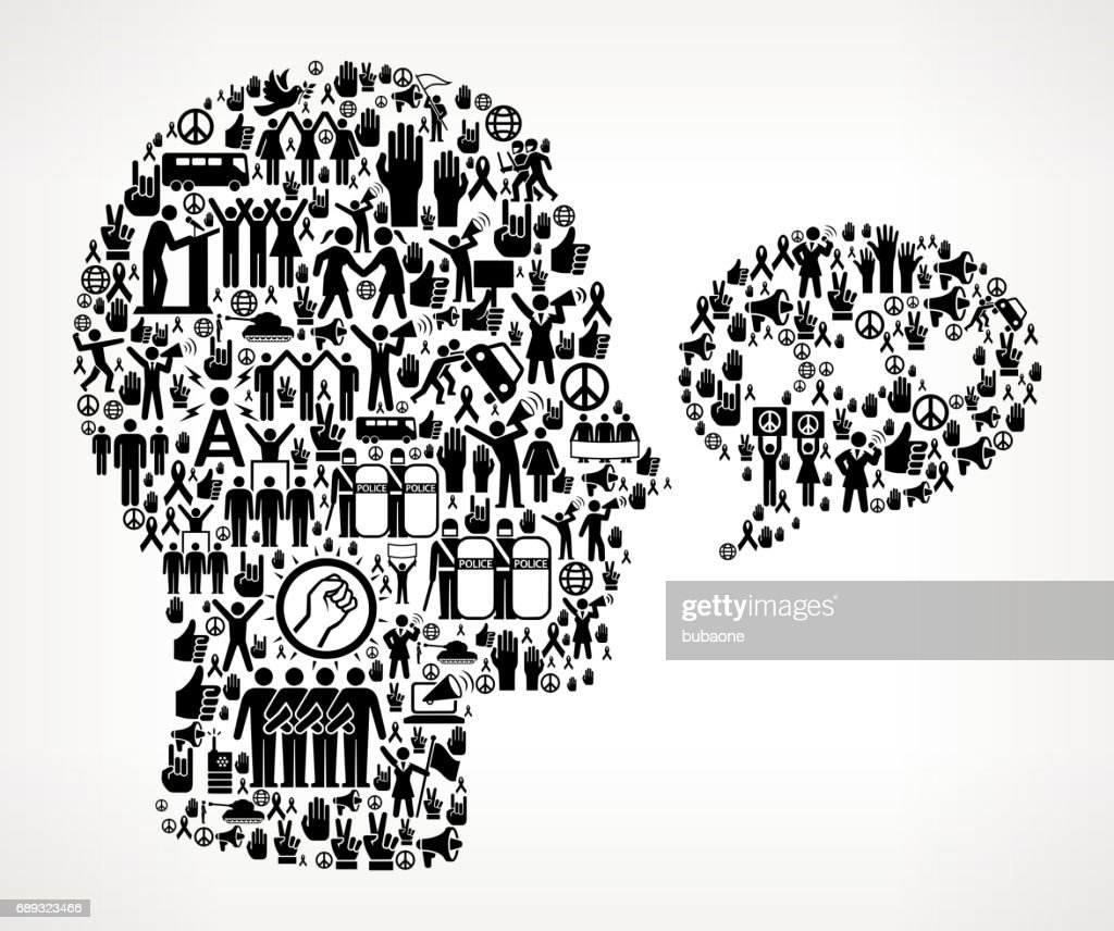 Chatbubble Face  Protest and Civil Rights Vector Icon Background : Stock Illustration