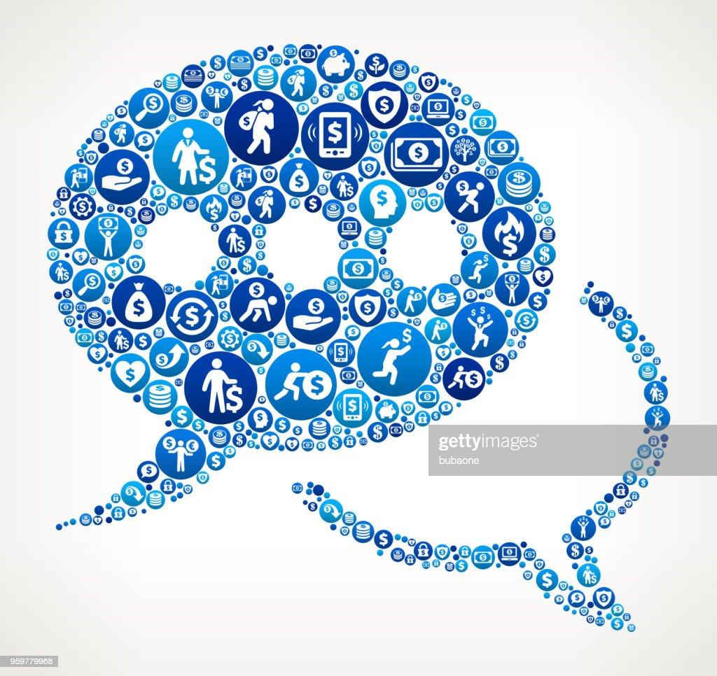 Chatbubble Geld blaues Symbol Muster Hintergrund : Stock-Illustration