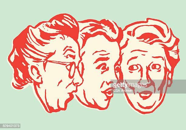 chatty elderly women - female friendship stock illustrations