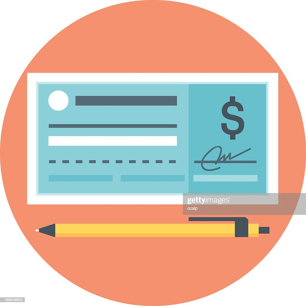 Che que Payment flat style, colorful, vector icon
