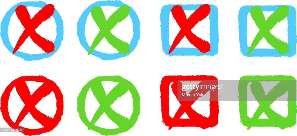 Check box and x mark set