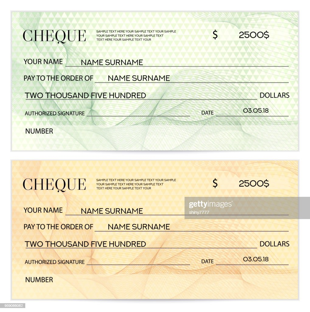 Check (cheque), Chequebook template. Guilloche pattern with watermark, spirograph