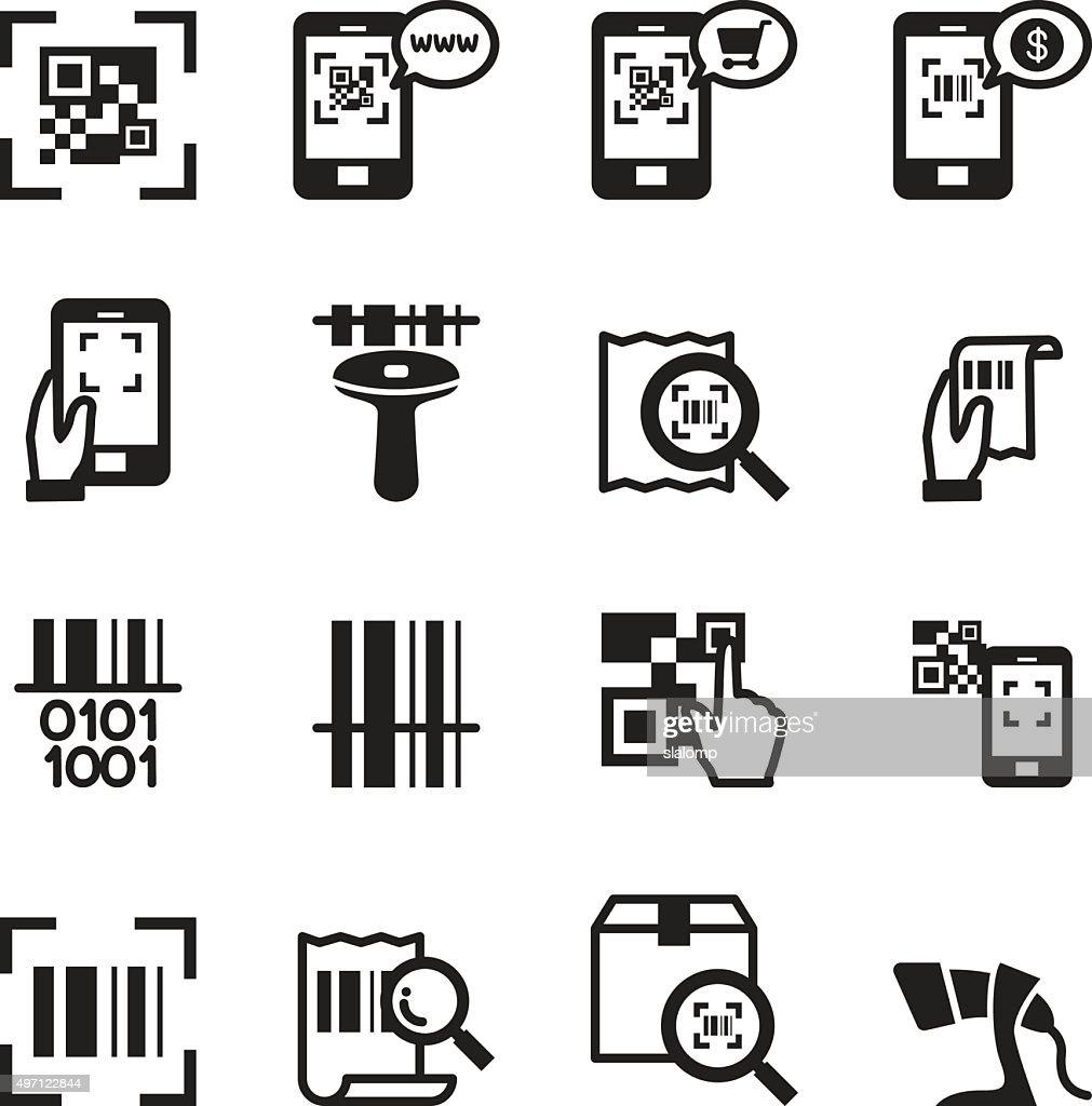 Check code , Barcode, QR code Reader Icons set Vector illustrati