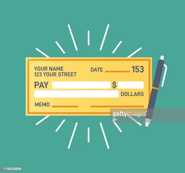 check financial payment - cheque stock illustrations, clip art, cartoons, & icons