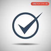 Check icon.Vector illustration in flat style. Eps 10