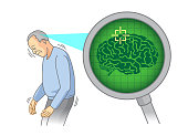 Check inside of the elderly brain with Magnifying glass.