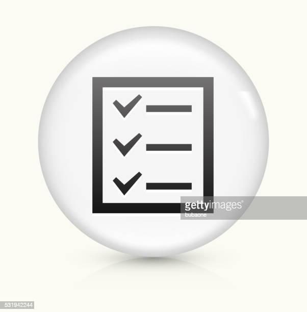 Liste de contrôle d'icône sur blanc vecteur rond bouton