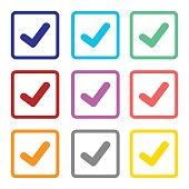 check list icon set colorful isolated vector
