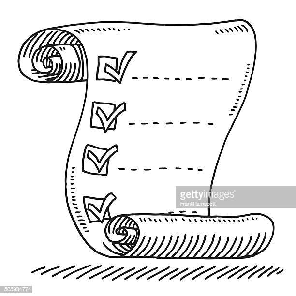 check list paper scroll drawing drawing - list stock illustrations, clip art, cartoons, & icons