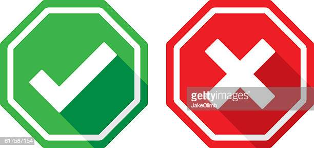 check mark and x icons flat - stop sign stock illustrations