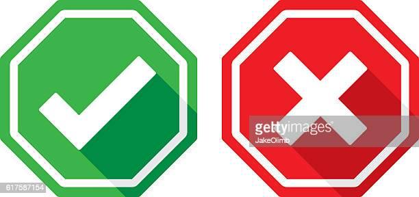 illustrations, cliparts, dessins animés et icônes de check mark and x icons flat - panneau stop