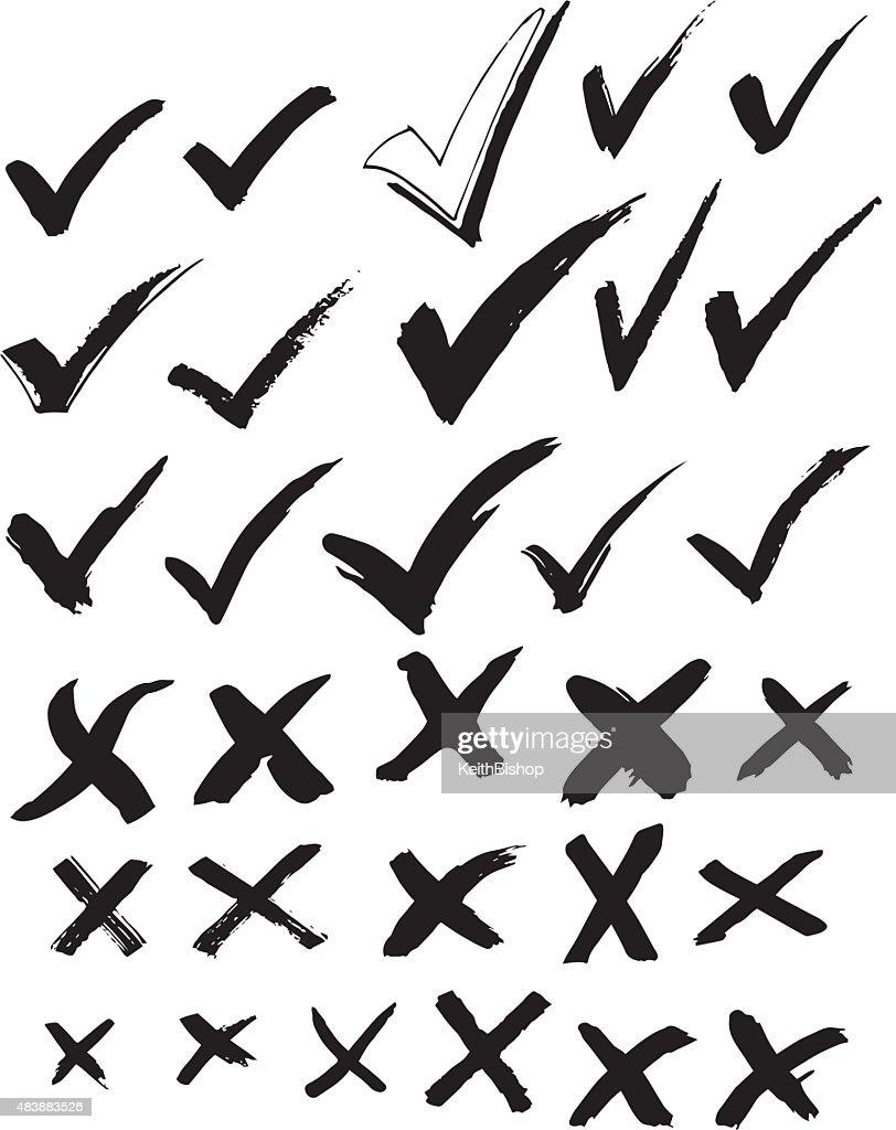 Check Mark and X - Survey or Ballot