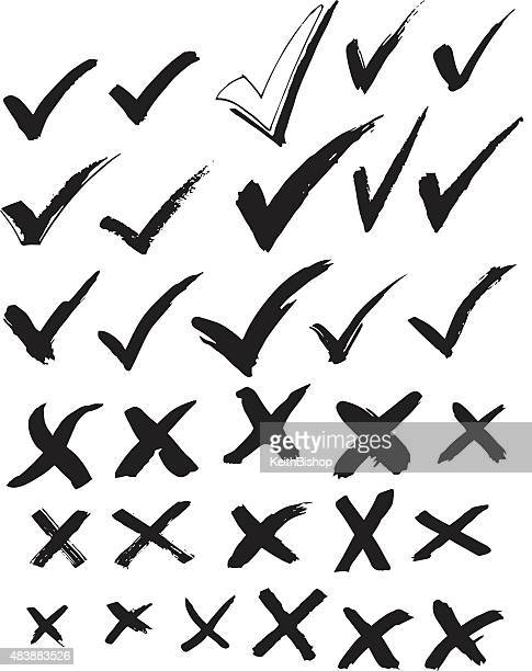 check mark and x - survey or ballot - check mark stock illustrations