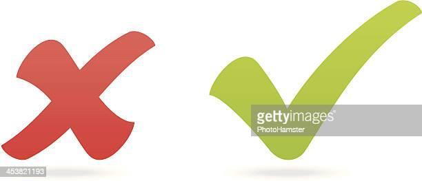 check mark and x - cross shape stock illustrations, clip art, cartoons, & icons