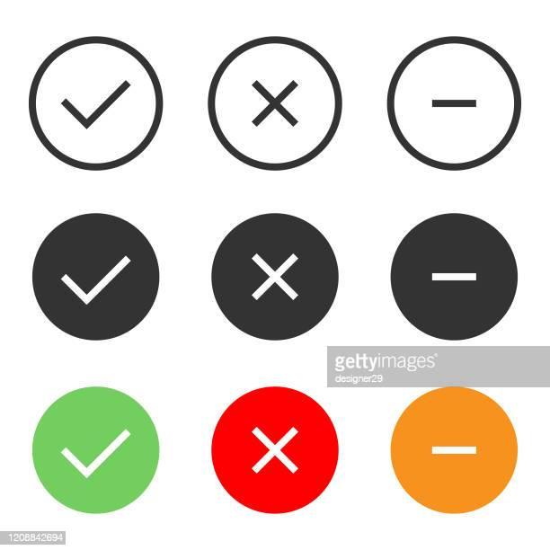 白い背景に承認、拒否、負のアイコンセットベクトルデザインをチェックします。 - 薄い点のイラスト素材/クリップアート素材/マンガ素材/アイコン素材