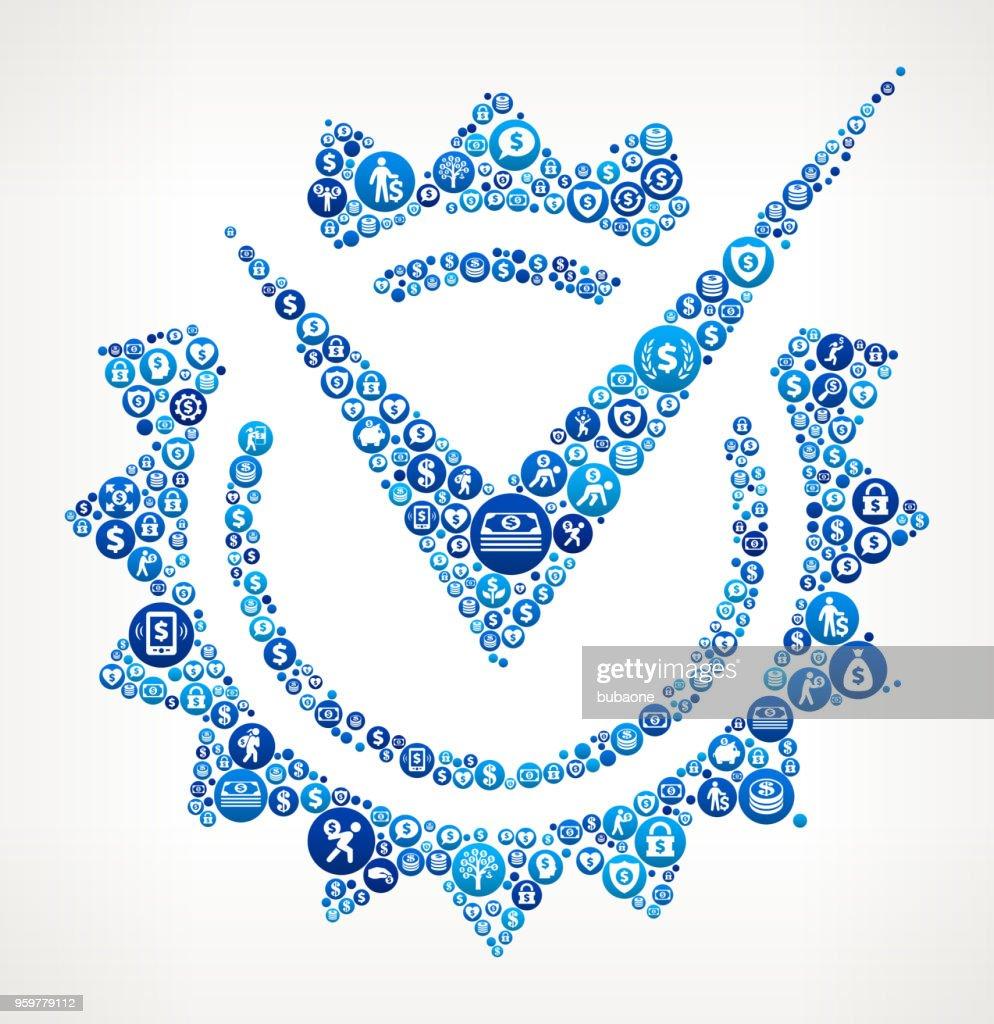 Prüfen Sie Mark Abzeichen Geld blaues Symbol Muster Hintergrund : Stock-Illustration