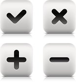 Check mark, delete, plus, minus sign square icons web button