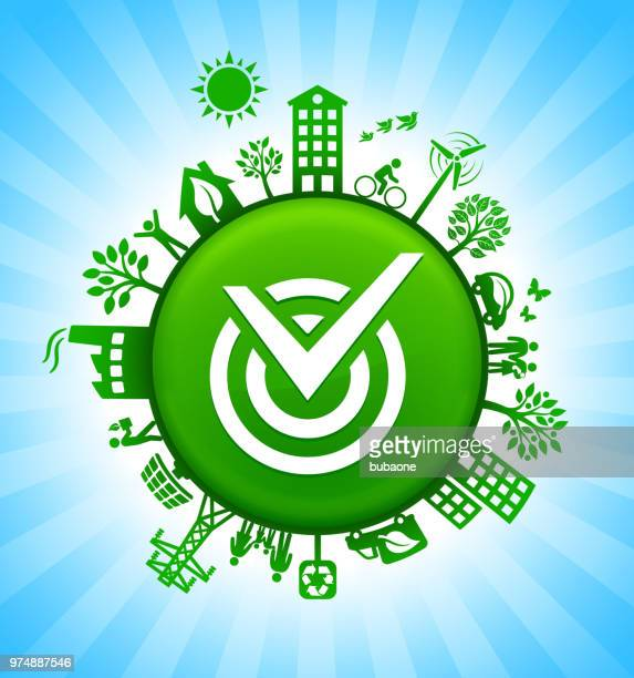 Check Mark Environment Green Button Background on Blue Sky
