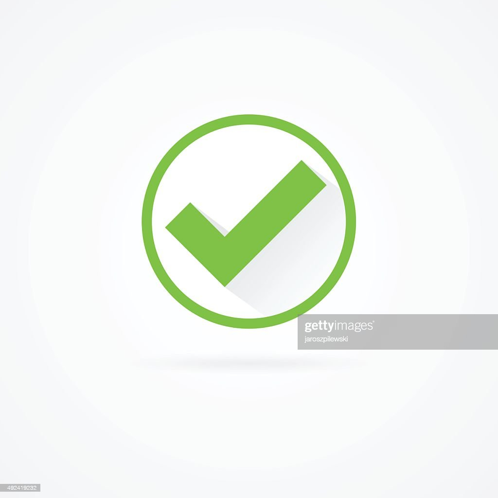Check mark flat green icon with shadow.