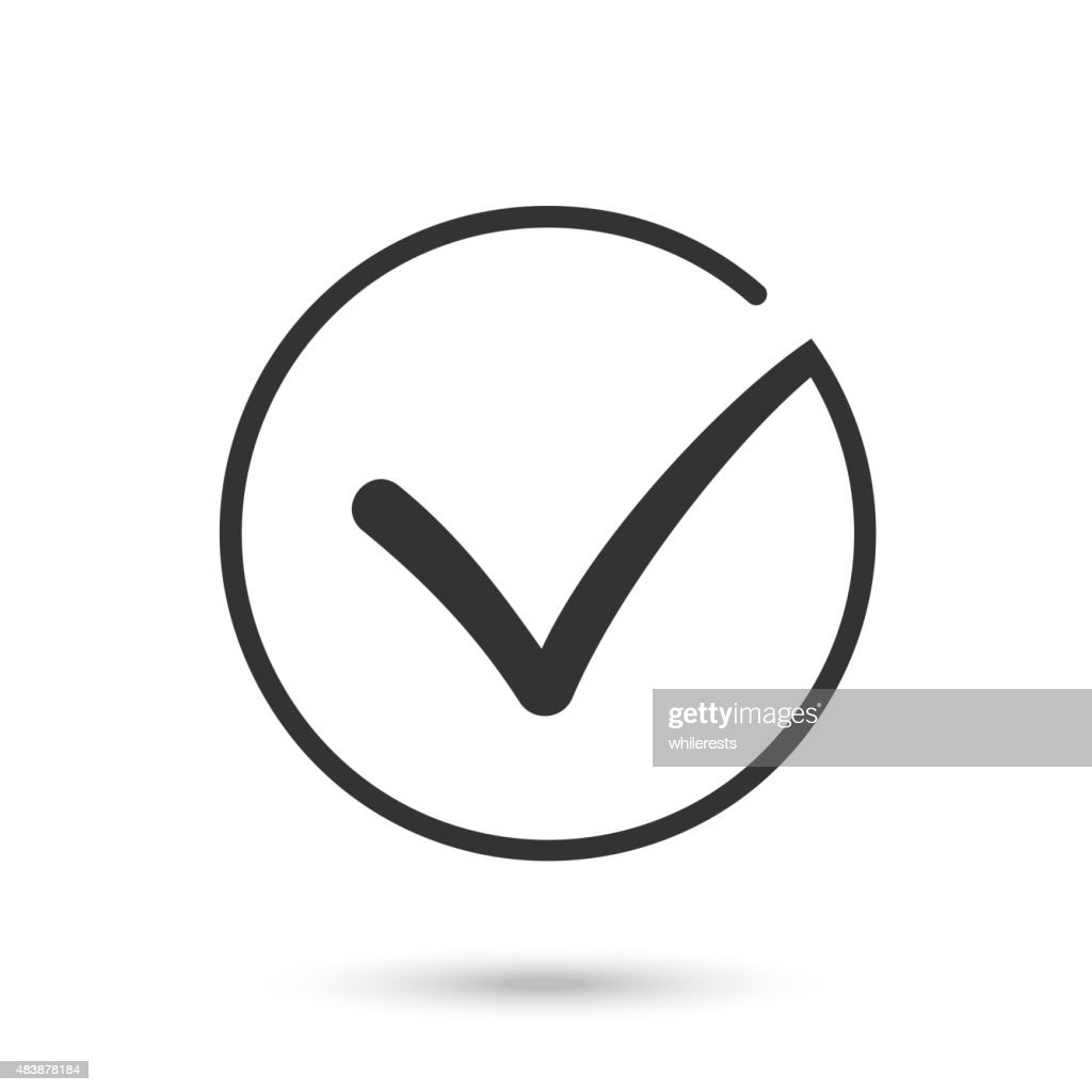Check mark. Flat icon. Black button for web. Vector eps10