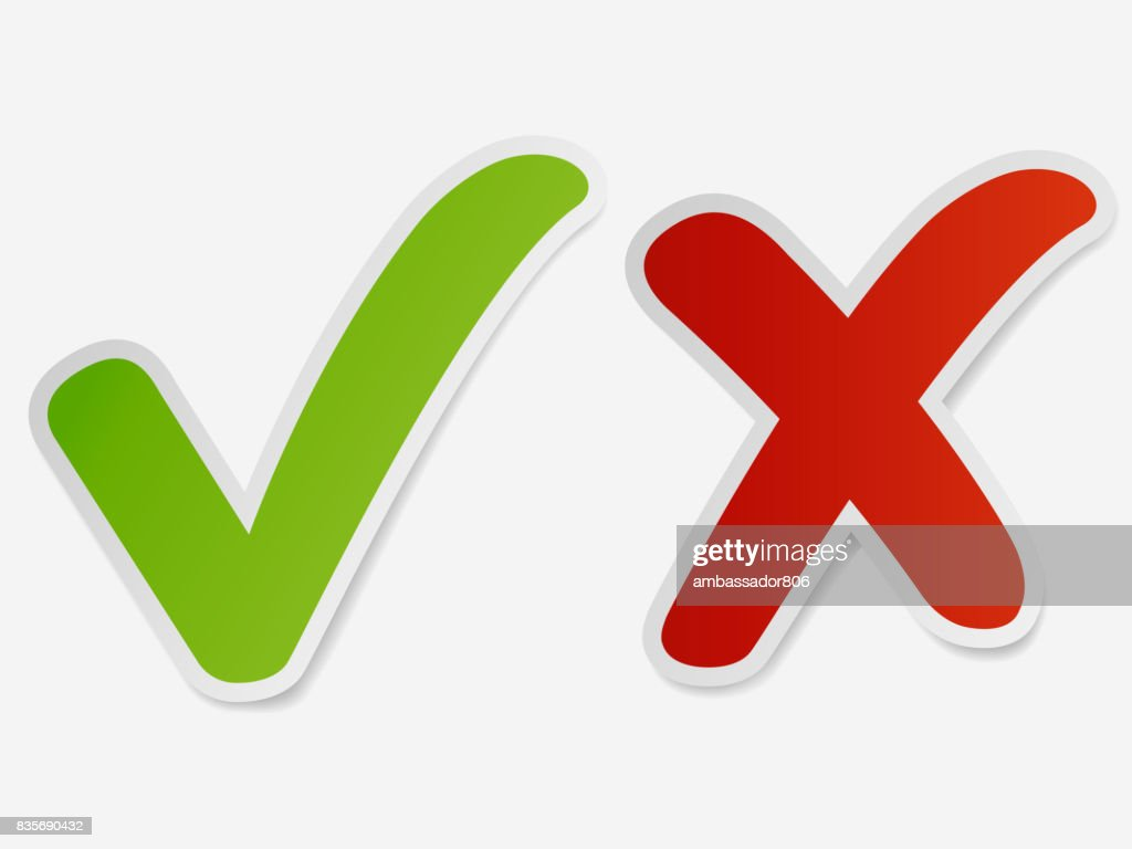 check mark green and red cross. vector