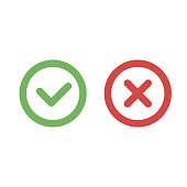 Check mark green and red line icons. Vector illustration