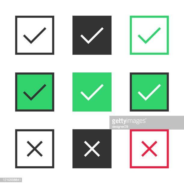 check mark icon box set vector design on white background. - checkbox stock illustrations