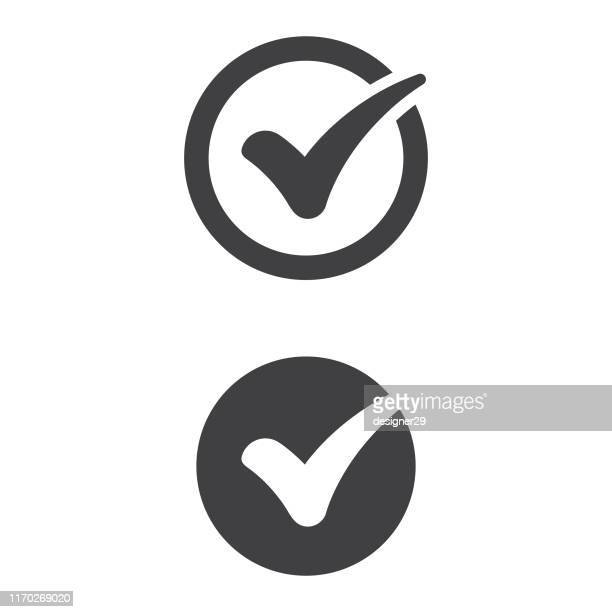 check mark icon flat design. - check mark stock illustrations