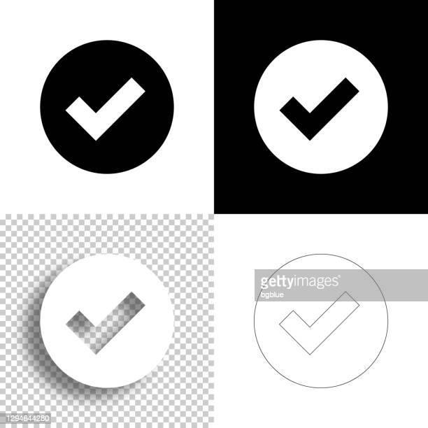 häkchen. symbol für design. leere, weiße und schwarze hintergründe - liniensymbol - häkchen schriftsymbol stock-grafiken, -clipart, -cartoons und -symbole