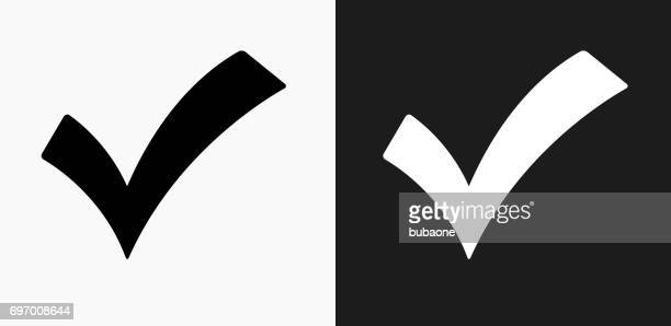 check mark icon on black and white vector backgrounds - check mark stock illustrations