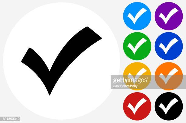 Check Mark Icon on Flat Color Circle Buttons