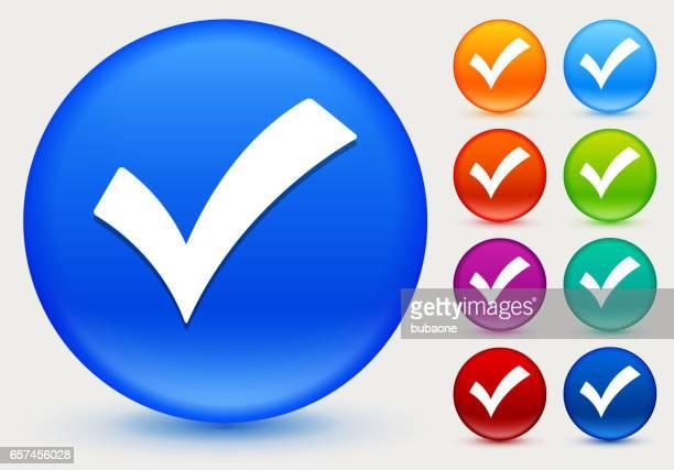 ilustraciones, imágenes clip art, dibujos animados e iconos de stock de compruebe la marca icono de círculo brillante color botones - exactitud