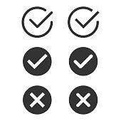 Check Mark Icon Set Flat Design.
