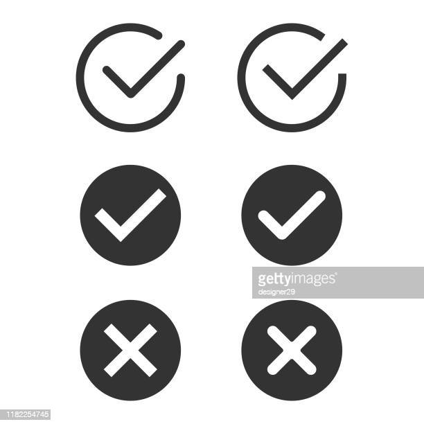 check mark icon set flat design. - check mark stock illustrations