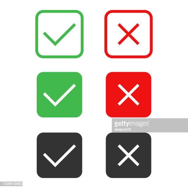 check mark icon set vector design on white background. - checkbox stock illustrations