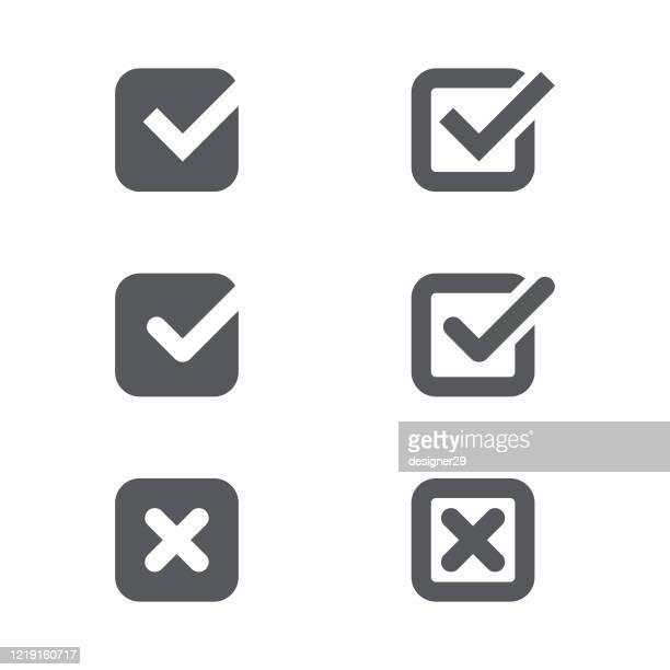 check mark icon set vector design. - representing stock illustrations