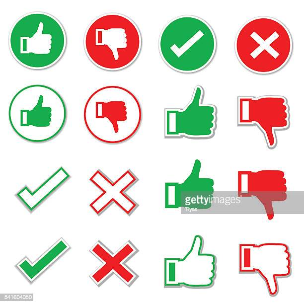 check mark icon set - thumbs down stock illustrations