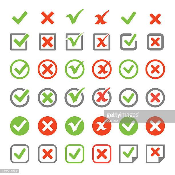 check mark icon set - check mark stock illustrations