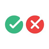 Check mark icons. Green tick and red cross checkmarks flat icons set. Vector illustration isolated on white background.