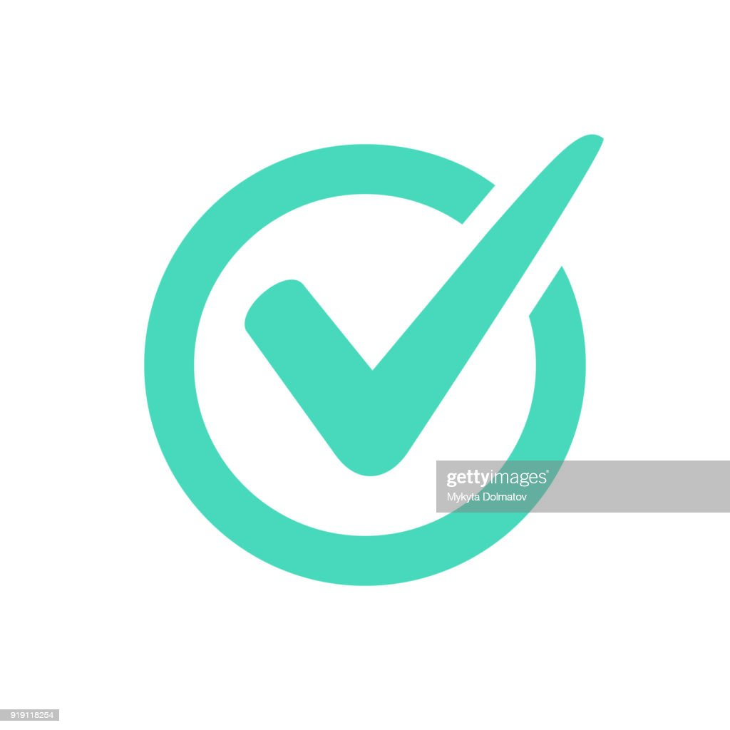 Check mark logo vector or icon.