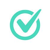 Check mark logo vector or icon.
