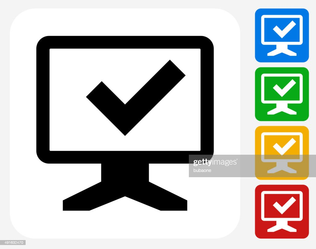 Check Mark Monitor Icon Flat Graphic Design