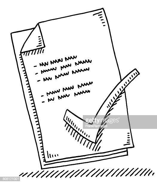 ilustraciones, imágenes clip art, dibujos animados e iconos de stock de dibujo hoja de papel de marca de verificación - documento