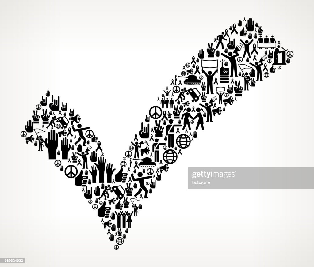 Check Mark  Protest and Civil Rights Vector Icon Background : Stock Illustration