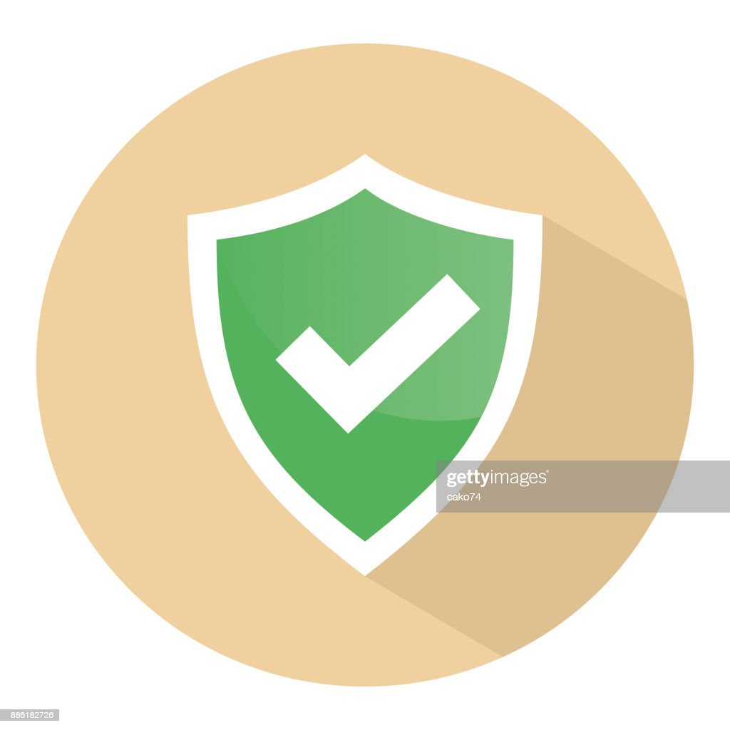 Check mark shield vector icon : stock illustration