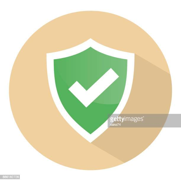 check mark shield vector icon - shield stock illustrations