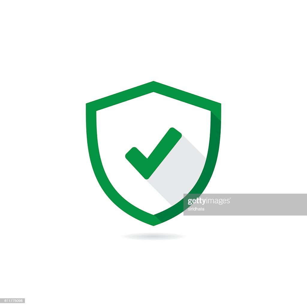 Check Mark Shield Vector Icon With Long Shadow