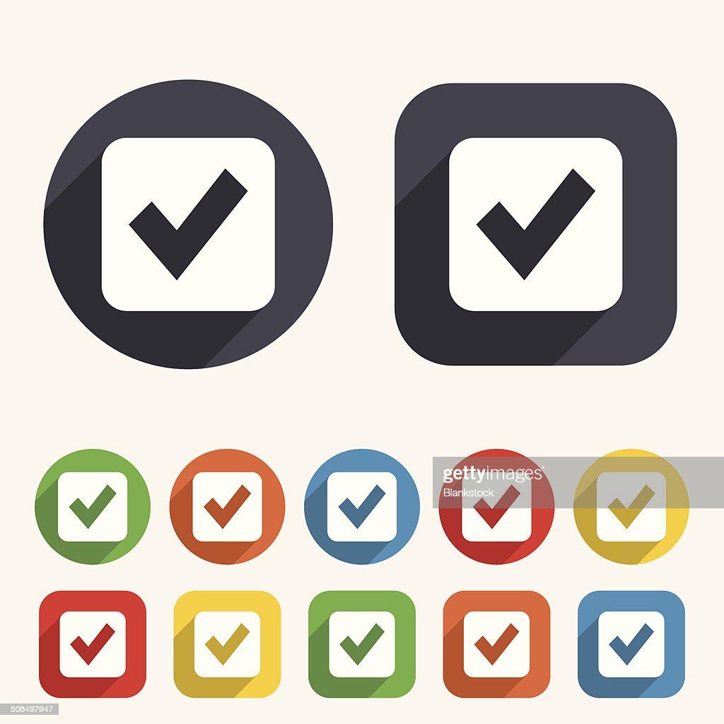 Check mark sign icon. Checkbox button.