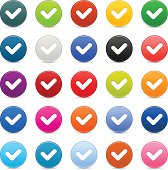 Check mark sign satin circle icon web button reflection shadow