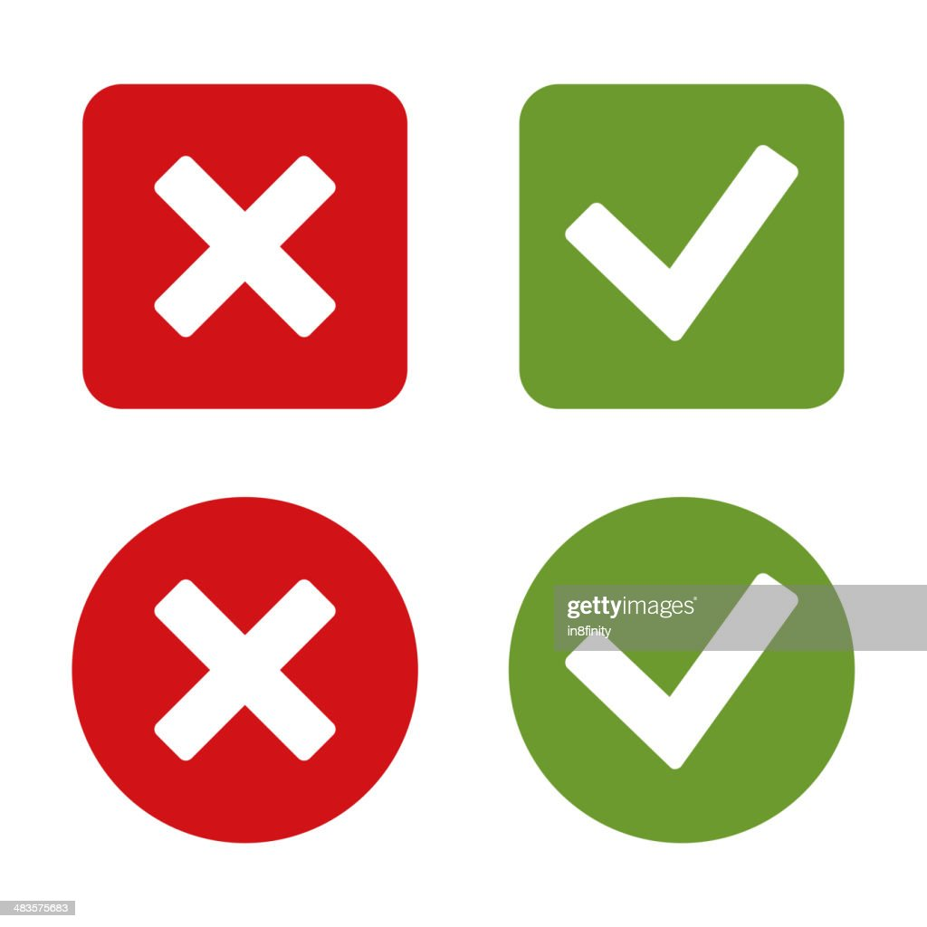 Check Mark Stickers and Buttons. Red Green. Vector.